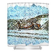 Big Cat - Sometimes They Fall - Winter - Snow - Slippery Slope  Shower Curtain