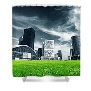 Big City And Green Fresh Meadow Shower Curtain