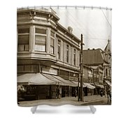 Big Curio Store Santa Cruz At 28 Pacific Avenue On The Corner Of Lincoln And Pacific. 1908 Shower Curtain