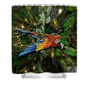 Big Glider Macaw Digital Art Shower Curtain