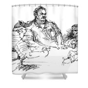 Big Guys And A Little Guy Shower Curtain