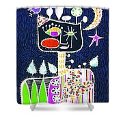 Big Hearted Blue Shower Curtain