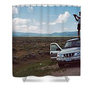Looking At Big Hole Shower Curtain