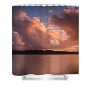 Big Lagoon Sunset Colors Shower Curtain