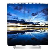 Big Lake After Sunset Shower Curtain