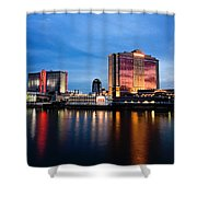 Big Night On The River Shower Curtain by Scott Pellegrin