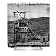 Big Pit Colliery Monochrome Shower Curtain
