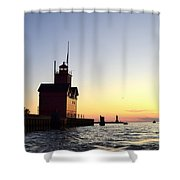 Big Red At Sunset Shower Curtain by Michelle Calkins
