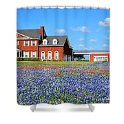 Big Red House On Bluebonnet Hill Shower Curtain