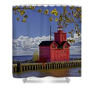 Big Red Lighthouse By Holland Michigan No.0255 Shower Curtain