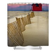 Big Red Lighthouse With Sand Fence At Ottawa Beach Shower Curtain