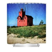 Big Red With Flag Shower Curtain by Michelle Calkins
