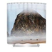 Big Rock On The Oregon Coast With Fog Shower Curtain