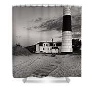 Big Sable Point Lighthouse In Black And White Shower Curtain