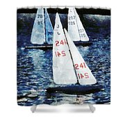 Big Sailors And Little Boats Shower Curtain