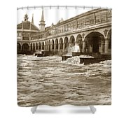 Big Storm Waves At Santa Cruz Beach And Casino And Beach Ca Circa 1925 Shower Curtain