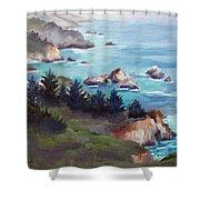 Big Sur In The Mist Shower Curtain by Karin  Leonard