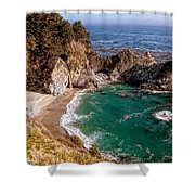 Big Sur - Mcway Falls Shower Curtain by Glenn McCarthy Art and Photography
