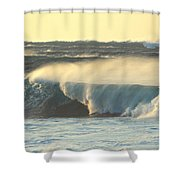 Big Surf At Sunset Shower Curtain