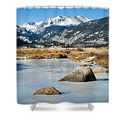 Big Thompson River Through Moraine Park In Rocky Mountain National Park Shower Curtain