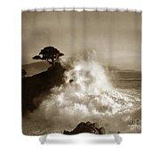 Big Wave Hitting The Lone Cypress Tree Pebble Beach California 1916 Shower Curtain