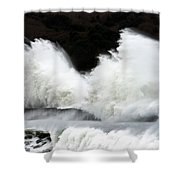 Big Waves Breaking On Breakwater Shower Curtain