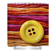 Big Yellow Button  Shower Curtain