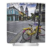Bike And 3 Georges In Mobile Alabama Shower Curtain