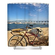 Bike And A Brdige Shower Curtain