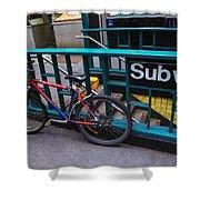 Bike At Subway Entrance Shower Curtain