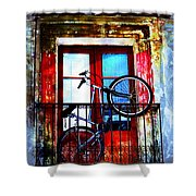 Bike In The Balcony Shower Curtain