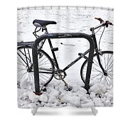 Bike In The Snow Shower Curtain