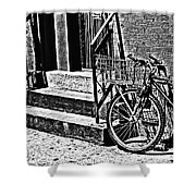 Bike In The Sun Black And White Shower Curtain
