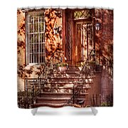Bike - Ny - Greenwich Village - An Orange Bike  Shower Curtain by Mike Savad