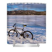 Bike On Frozen Lake Laberge Yukon Canada Shower Curtain