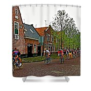 Bike Race On Orange Day In Enkhuizen-netherlands Shower Curtain