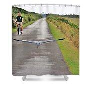 Biker And The Bird Shower Curtain