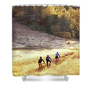 Bikers On Foresthill Divide Trail Shower Curtain