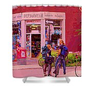 Bikes Backpacks And Cold Beer At The Local Corner Depanneur Montreal Summer City Scene  Shower Curtain
