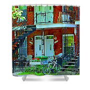 Bikes Balconies Brick Houses Flower Boxes Verdun Duplex Stairs Summer Scenes Carole Spandau Shower Curtain