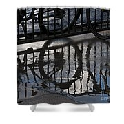 Bikes In The Rain Shower Curtain