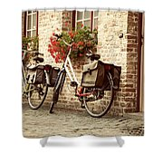 Bikes In The School Yard Shower Curtain
