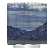 Bill Cody Reservoir From Sheep Mountain  Panoramic  Signed  25.75x78 Shower Curtain