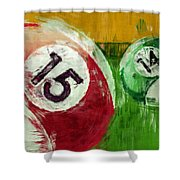Billiards Abstract 15 14 Shower Curtain