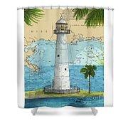 Biloxi Lighthouse Ms Nautical Chart Art Cathy Peek Shower Curtain