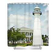 Biloxi Lighthouse Sketch Photo Shower Curtain
