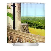 Biltmore Balcony Asheville Nc Shower Curtain by William Dey
