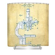Binocular Microscope Patent Drawing From 1931 - Vintage Paper Shower Curtain