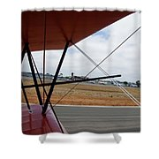 Biplane Taxying Back To Tie Down Shower Curtain