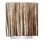 Birches In Motion Shower Curtain